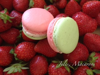 Fraise Pistache Macaron by Chez Jules, French Macarons